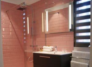 Douche et lavabo dans la salle de bain dans l'Hôtel le Minervois, design moderne